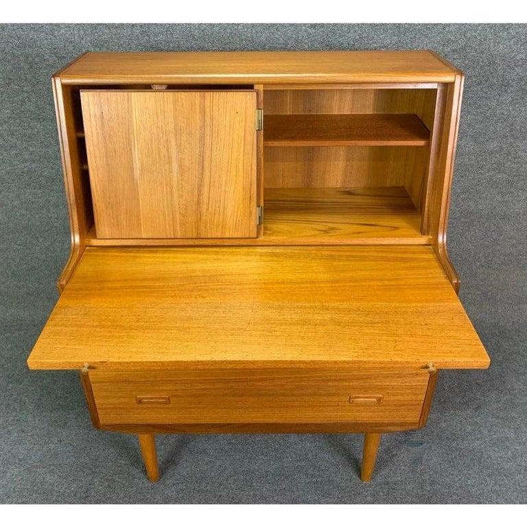 Danish Vintage Midcentury Scandinavian Modern Teak Secretary Desk For Sale