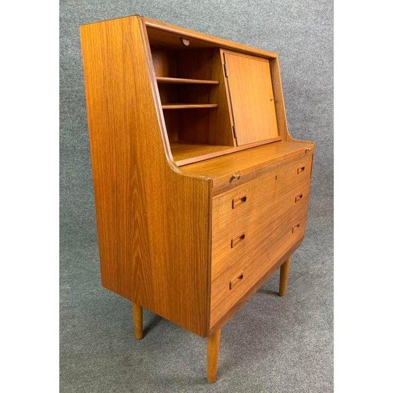Woodwork Vintage Midcentury Scandinavian Modern Teak Secretary Desk For Sale