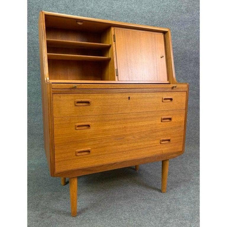 Vintage Midcentury Scandinavian Modern Teak Secretary Desk In Good Condition For Sale In San Marcos, CA