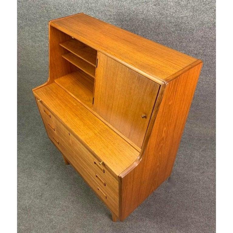 Vintage Midcentury Scandinavian Modern Teak Secretary Desk For Sale 2