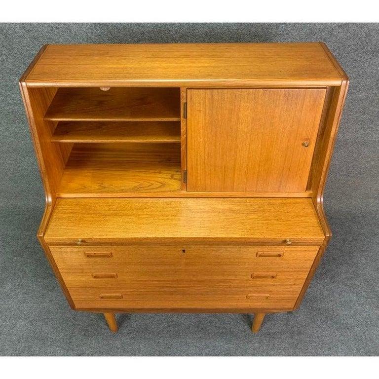 Vintage Midcentury Scandinavian Modern Teak Secretary Desk For Sale 3