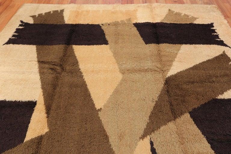 Wool Vintage Midcentury Scandinavian Rya Shag Rug. Size: 8 ft 2 in x 11 ft 4 in For Sale