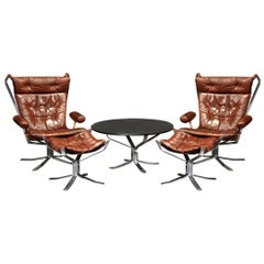Vintage Midcentury Sigurd Ressell Chrome and Leather Falcon Lounge Set