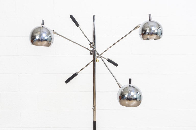 vintage midcentury sonneman  attributed  triennale three orb chrome floor lamp for sale at 1stdibs