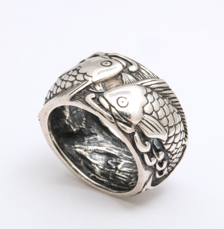 Modern Vintage Mid Century Sterling Silver Pisces Ring For Sale