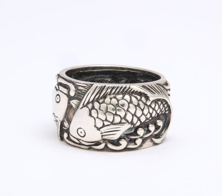 Women's or Men's Vintage Mid Century Sterling Silver Pisces Ring For Sale