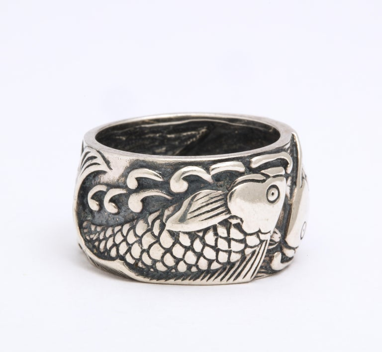 Vintage Mid Century Sterling Silver Pisces Ring For Sale 1