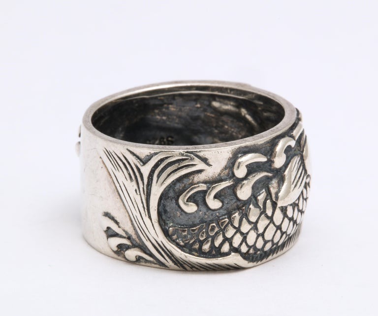 Vintage Mid Century Sterling Silver Pisces Ring For Sale 3