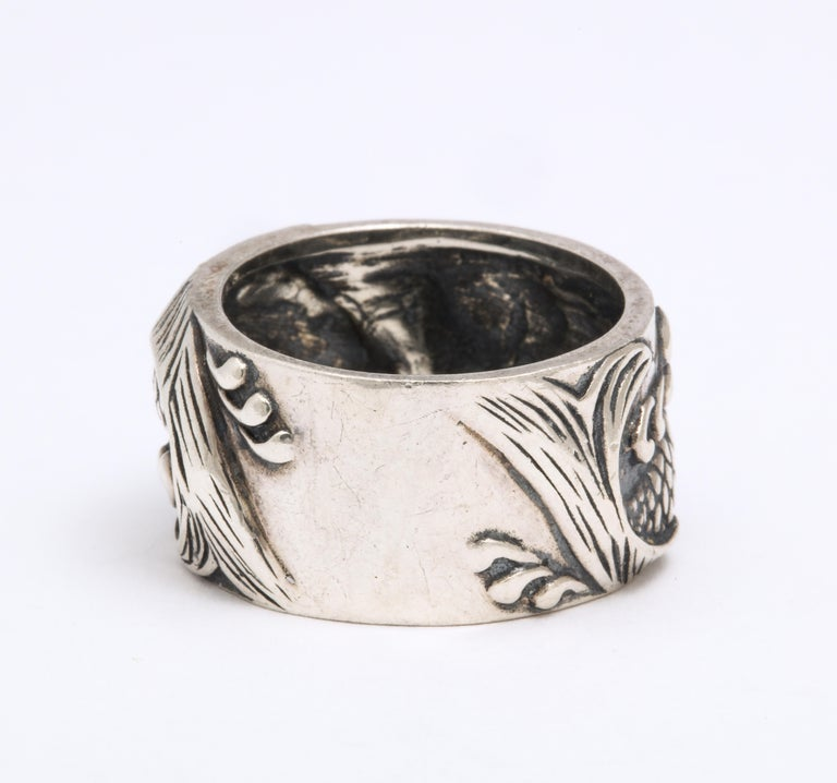 Vintage Mid Century Sterling Silver Pisces Ring For Sale 4