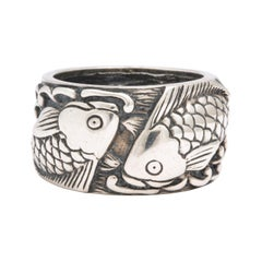 Vintage Mid Century Sterling Silver Pisces Ring