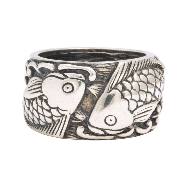 Vintage Mid Century Sterling Silver Pisces Ring For Sale