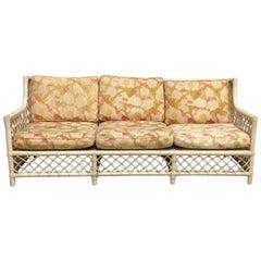 1950s Split Reed Stick Wicker Sofa Old World Palm Beach Style