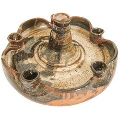 Vintage Midcentury Stoneware Pottery Studio Candleholder