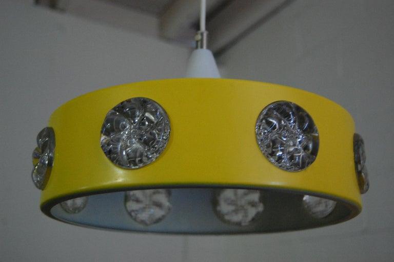 Aluminum Vintage Mid-Century Swedish Modern Yellow Pendant For Sale