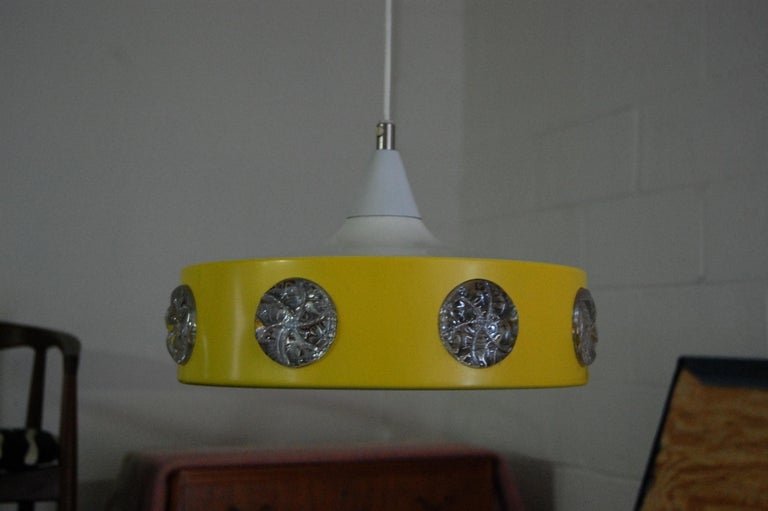 Vintage Mid-Century Swedish Modern Yellow Pendant For Sale 1