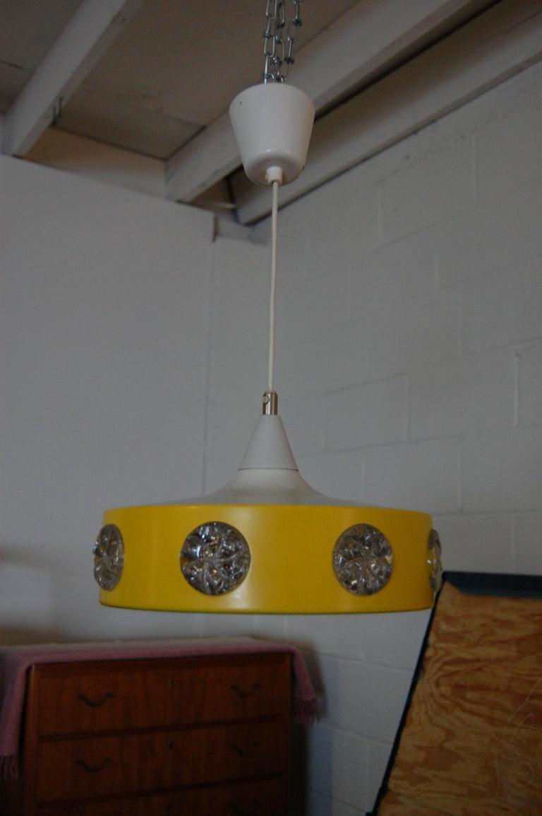 Vintage Mid-Century Swedish Modern Yellow Pendant For Sale 2