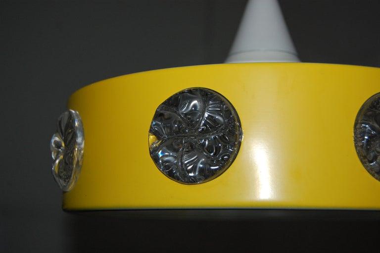 Vintage Mid-Century Swedish Modern Yellow Pendant For Sale 3