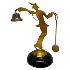 Vintage Mid Century Table Bell Geisha Brass Wood Statue, Vienna Austria 1950s