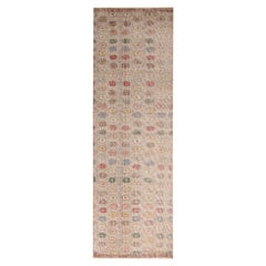 Vintage Midcentury Tan-Brown Wool Runner with Multi-Color Floral Pattern