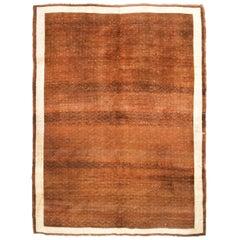 Vintage Midcentury Traditional Kurdish Brown and Beige Wool Rug