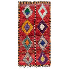Vintage Mid-Century Transitional Moroccan Red and Multicolor Wool Rug