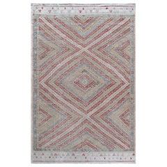 Vintage Midcentury Tribal Flat-Weave Rug