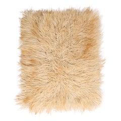 Vintage Midcentury Tulu Cream Beige-Brown Shag Wool Rug