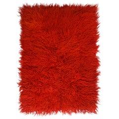 Vintage Midcentury Tulu Crimson Red Shag Wool Rug