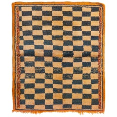 Vintage Midcentury Tulu Transitional Orange and Black Wool Rug