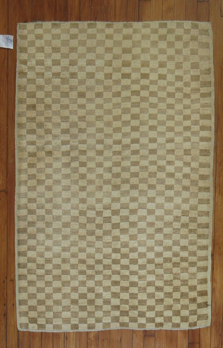 Hand-Woven Vintage Midcentury Turkish Checkerboard Rug For Sale