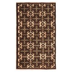 Vintage Midcentury Turkish Geometric Beige Brown Wool Rug