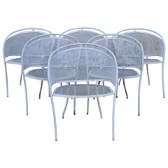 Vintage Midcentury Wrought Iron Barrel Back Patio Dining Armchairs, Set of 6