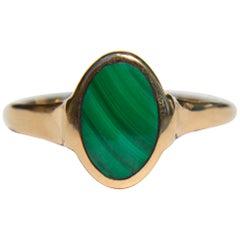 Vintage Midcentury 14 Karat Gold 1.41 Carat Malachite Signet Ring