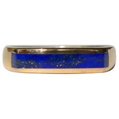 Vintage Midcentury 14 Karat Gold Lapis Lazuli Squared Inlay Band Ring