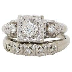 Vintage Midcentury 14 Karat White Gold Diamond Wedding Set