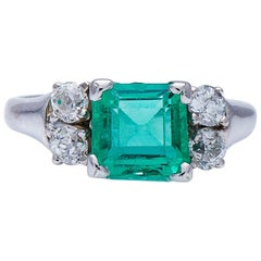 Vintage Midcentury, 14ct White Gold, Natural Colombian Emerald and Diamond Ring