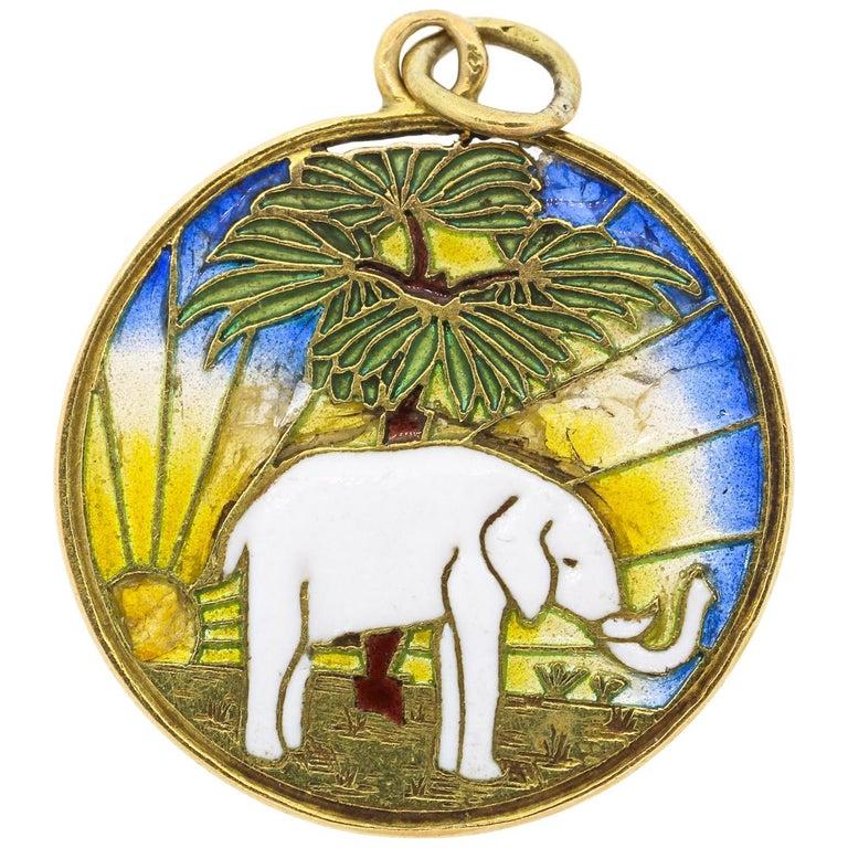 Vintage Midcentury 18 Karat Gold Plique-à-Jour Enamel Elephant Pendant Charm For Sale