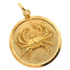Vintage Midcentury 18 Karat Gold Zodiac Cancer Charm Pendant