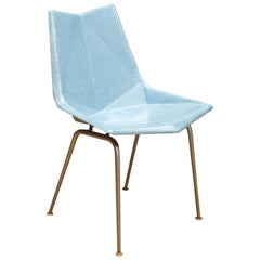 Vintage Midcentury 1960s Paul McCobb Blue Fiberglass Origami Space Age Chair