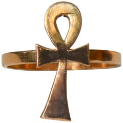 Vintage Midcentury 22 Karat Gold Egyptian Ankh Ring