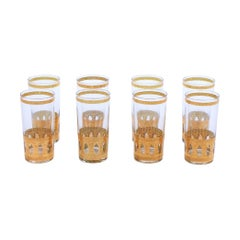 Vintage Midcentury 22-Karat Gold Highball Cocktail Glasses Set of 8, circa 1965