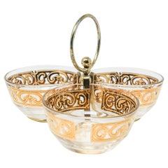 Vintage Midcentury 22-Karat Gold Leaf Appetizer Bowls by Culver, 1960s