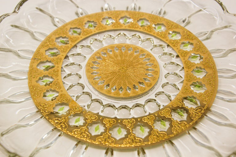 Exquisite Culver Valencia Hostess tray server plate, appetizer plate. Culver Valencia Hostess tray server plate, vintage midcentury Culver Valencia 22-karat gold green diamond glass serving Tray, 10 inch, 1960s This set has a highly ornate