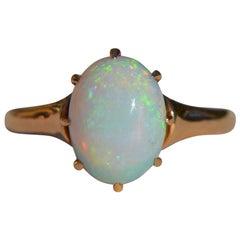 Vintage Midcentury 2.54 Carat Opal Solitaire 10 Karat Gold Ring