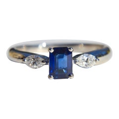 Vintage Midcentury .66 Carat Emerald Cut Sapphire Diamond Platinum Ring