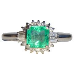 Vintage Midcentury .71 Carat Colombian Emerald Diamond Platinum Ring