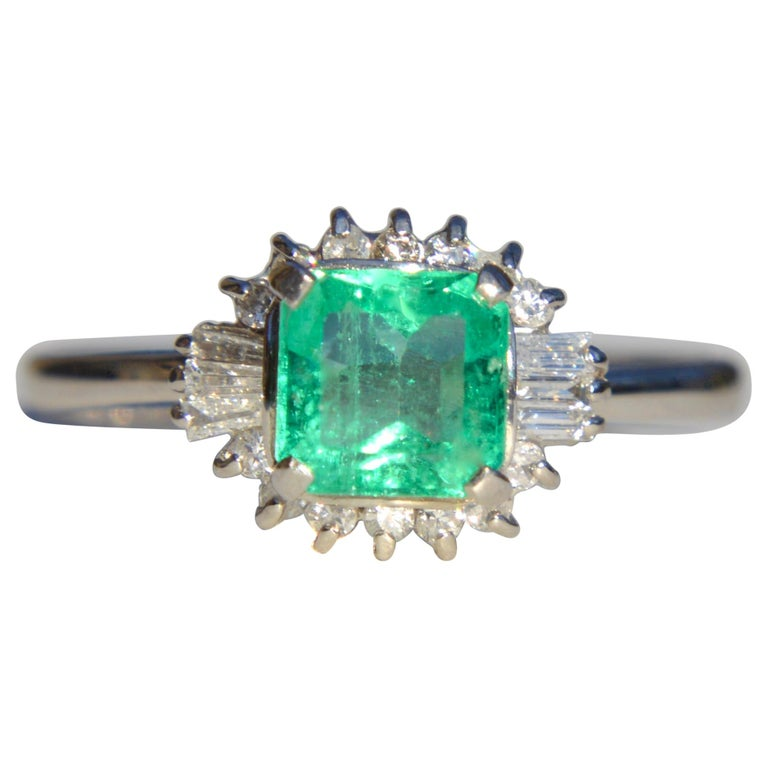 Vintage Midcentury .71 Carat Colombian Emerald Diamond Platinum Ring