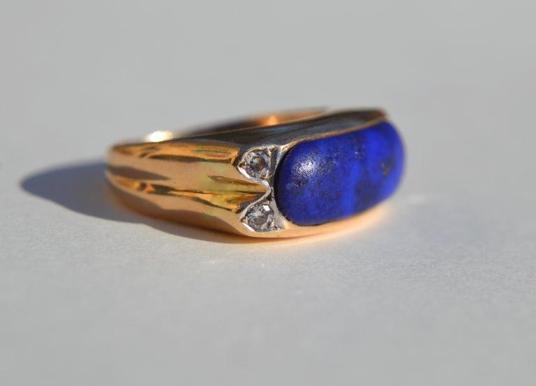 Modernist Vintage Midcentury 9.13 Carat Lapis Lazuli East West Signet Diamond Ring