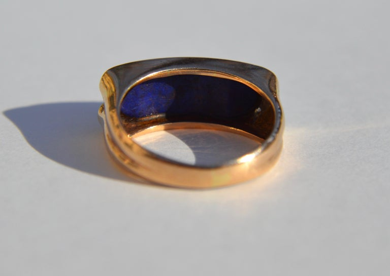 Round Cut Vintage Midcentury 9.13 Carat Lapis Lazuli East West Signet Diamond Ring