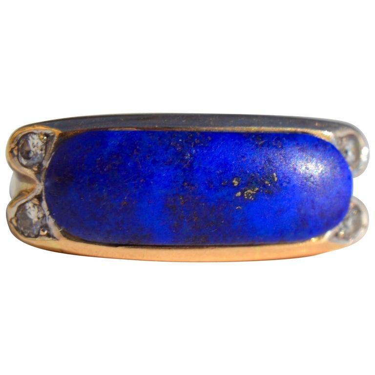 Vintage Midcentury 9.13 Carat Lapis Lazuli East West Signet Diamond Ring